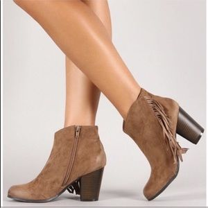 Qupid   Taupe Suede Fringe Ankle Booties